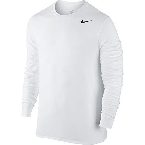 NIKE Mens 2.0 Long Sleeve Dri-Fit Cotton Training Shirt White/Black 707520-100 Size Large