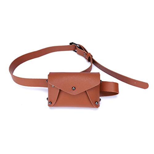 Women's Fanny Pack,Mini Pure Color Leather Messenger Bag Shoulder Bag Chest Belt Bag (Latest Fashion Bag)