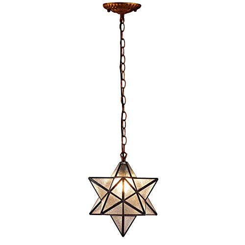 Bieye L10076 12-inch Moravian Star Tiffany Style Stained Glass Ceiling Pendant Hanging Lamp with Antique Brass Colored Chain, 51-inch Tall Favrile Glass