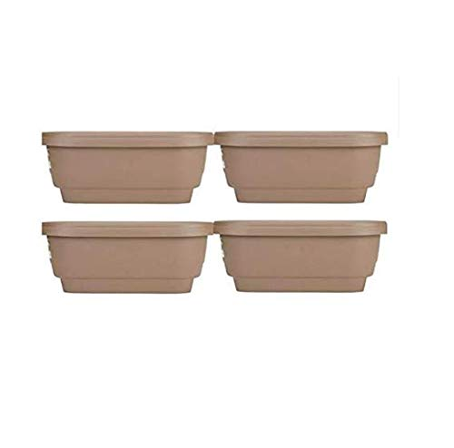 Bloem Deck Rail Planter 24 inch Chocolate, Pack of 4 + Cleaning Cloth - Clothes Decks
