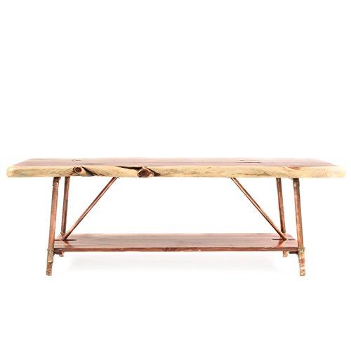 Niangua Furniture Live Edge Cedar Rustic Coffee Table With Copper - Copper pipe furniture