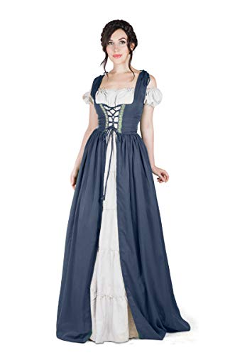 (Boho Set Medieval Irish Costume Chemise and Over Dress (2XL/3XL, Steel Blue/White))