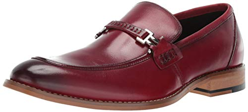 STACY ADAMS Men's Duval Moc-Toe Slip-On Penny Loafer, Cranberry, 10 M US