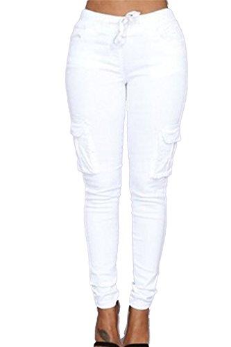 Bodycon Casual pantalones de la mujer con bolsillos White