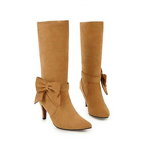 Charm Boots Yellow Mee Women's Heel Upper Bow Shoes High B4qEw0qPx