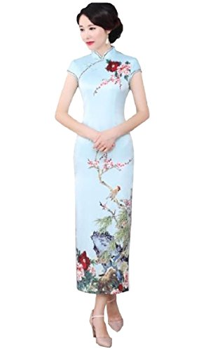Zimaes-Women Floral Printing Stand Collar Chinese Style Cheong-sam Split Satin Dress AS4 2XLarge