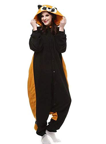 Unisex Animal Onesie Pajamas Adult Christmas Cosplay Costumes for Women Men Raccoon -