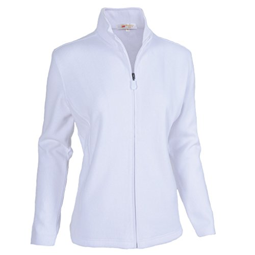 Monterey Club Ladies Classic Long Sleeve Zip-up French Rib Jacket #2934 (White, -