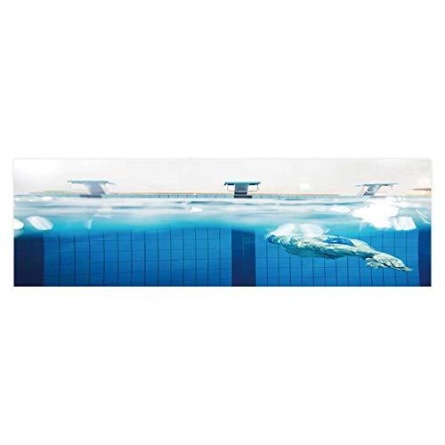 Dragonhome Background Fish Tank Decorations Swimmer Under Water in swimm Pool Fish Tank Wallpaper Sticker L29.5 x H17.7
