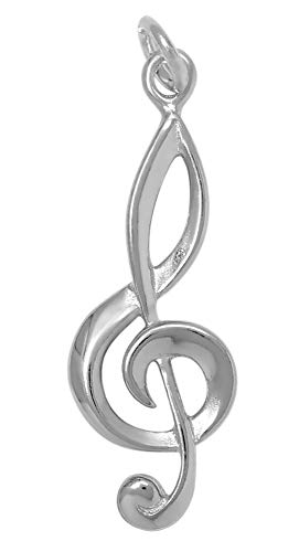 Tempo Metal Finish - Raposa Elegance Sterling Silver G Clef Musical Note Charm (approximately 25.5 mm x 10.5 mm)