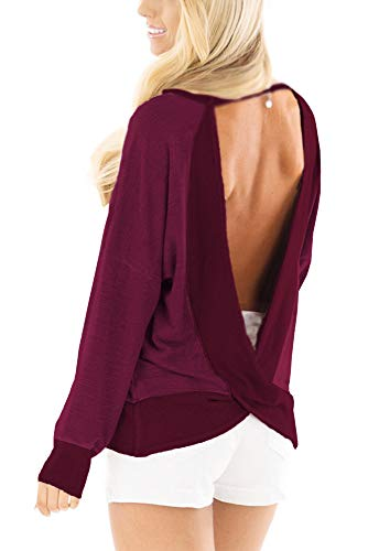 (Yingkis Women's Backless Long Sleeve Shirts Sexy Open Back Cross Blouses Loose Tops Sweater,Wine red M)