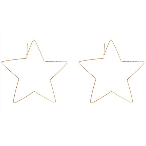- Gold Star Hoop Earrings Large Geometric Stainless Steel Dangle Earrings for Women