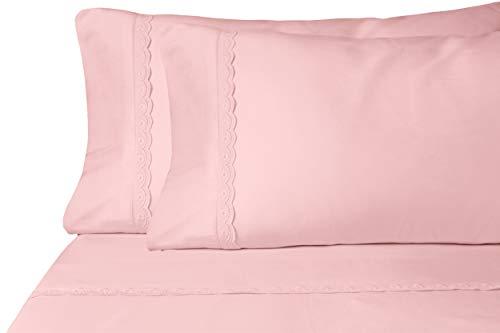 Eyelet Premium Microfiber Sheet Set - Super Soft, Deep Pocket, Embellished with Hypoallergenic, Wrinkle Resistant and Fade Resistant Brushed Microfiber – 4 Piece Set (Full, Champagne Pink)