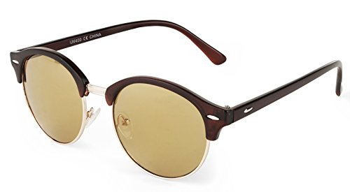 E&H Classic Clubround Shades Semi-Rimless Unisex Sunglasses, Brand Designer, 100% UV - Clubmaster Clubround