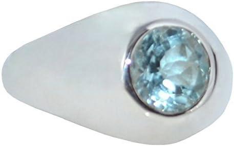 Plata De Ley 925 Topacio Azul Sello Hombre Anillo Auténtico Piedra preciosa De caballero Joyería Todas Los Tamaños N a Z+5 - Azul