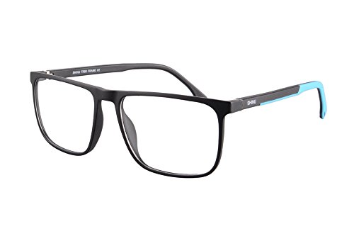 SHINU TR90 Lightweight Frame Progressive Multifocus Reading Glasses-SH078(matte black/inside blue, up 0.50 down - Wears Inside Sunglasses Who