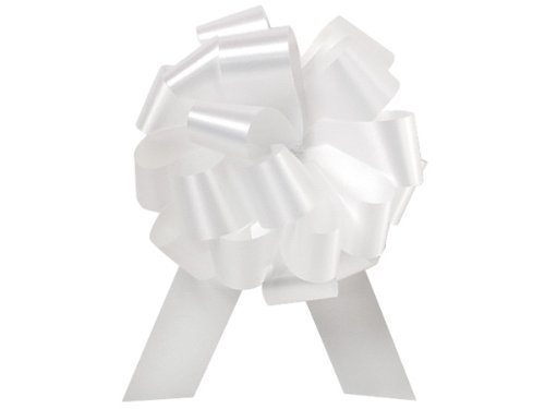 Wedding White Pull String Bows - 8 Inch Wide 20 Loops Large (2 and 1/2 Inch Ribbon) Set of 10