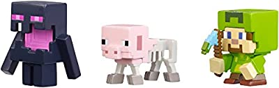 Minecraft Halloween Series Action Figure (3 Pack) - Steve with Hoodie, Skeleton Pig & Endereal by Mattel