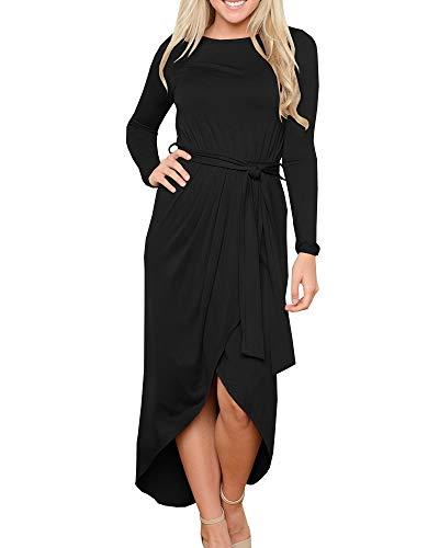 Foshow Womens Casual Long Sleeve Dresses Empire Waist Flowy Fall Maxi Dress with Belt