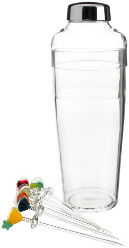 Prodyne Acrylic Cocktail Shaker with 6 Colorful Martini Picks