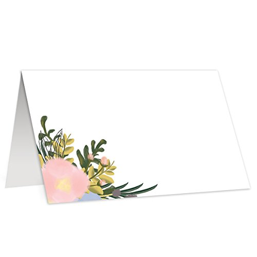 (50 Elegant Place Cards Wedding Escort Cards Simple Floral Table Tented Tent Folded Classic Standalone Blank Stationery Labels Event Decor Tableware Assigned Seating 3.5 x 2