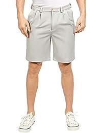 Men's Shorts Classic Fit Stretch Solid Expandable-Waist Pleat Front Short