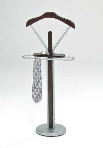 Kings Brand Silver / Walnut Finish Wood & Metal Suit Valet Rack Stand Organizer