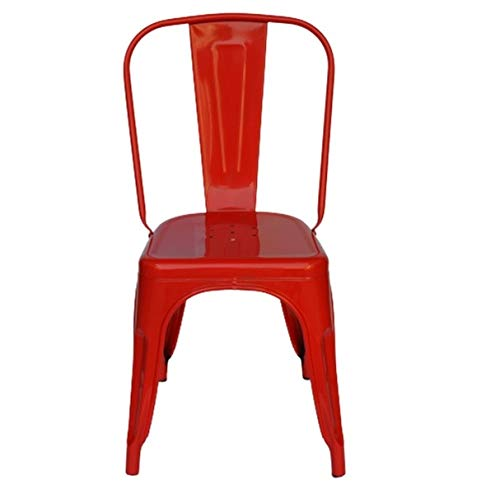 Detec™ Solid Metal Stackable Dining Chair Glossy Finish  Red