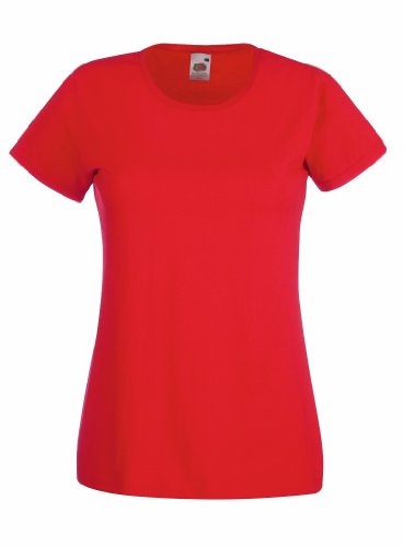 Fruit Of The Loom- Camiseta de manga corta Valueweight para mujer X-Large,Red - Red