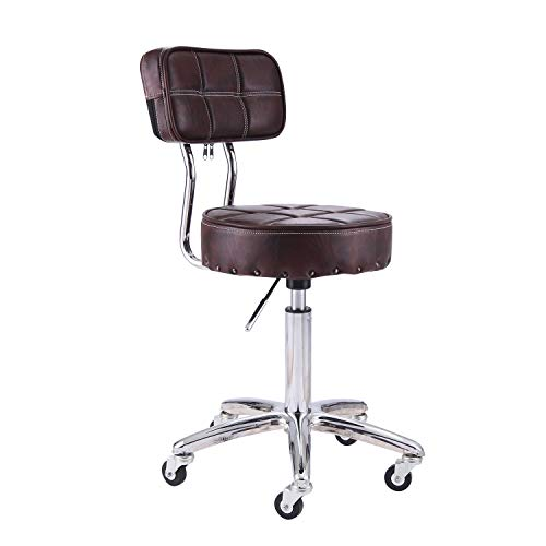 Rfiver Small Swivel Massage Chair Spa Stool with Back Height Adjustable Rolling Work Stool Drafting Stool in Brown SC1003-2