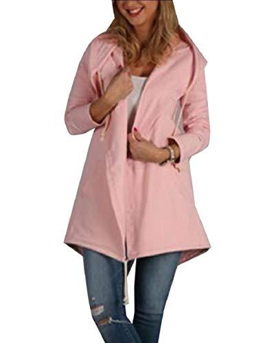 Howme-Women Skinny Fall Winter Hoode Cardigan Pure Color Coat Jacket Pink