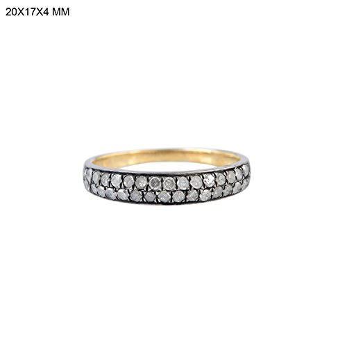 Mettlle 925 Sterling Silver Solid Pave Diamond Band Fashion Ring for Women Size 7 (Designer Pave Ring Diamond)