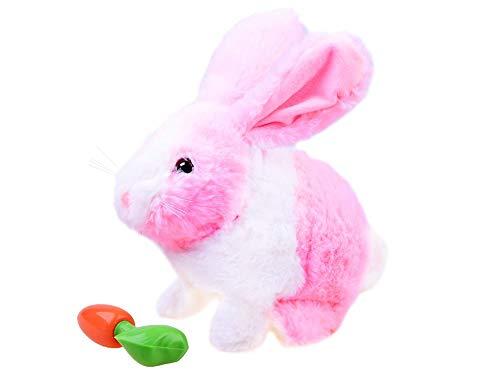 Juguete de Peluche – Animal de Peluche Interactivo – Animal Brinco y Masca Zanahoria – Conejo Rosa