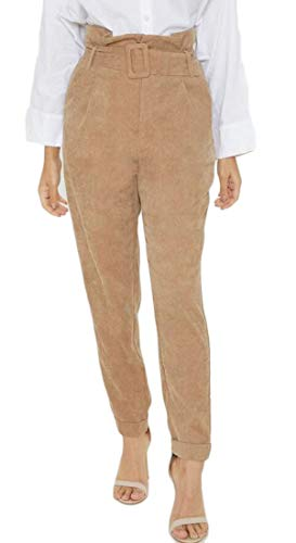 WSPLYSPJY Women Casual Slim High Waist Pants Corduroy Belted Pencil Pants Khaki S ()