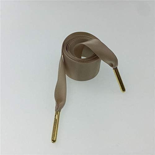 TMYQM シフォン両面光沢のある靴ひも70〜160センチメートルフラットシルクリボン靴ひもスニーカー2.22センチメートル幅配送 (Color : 1523 2 khaki Gold ti, Size : 70cm)