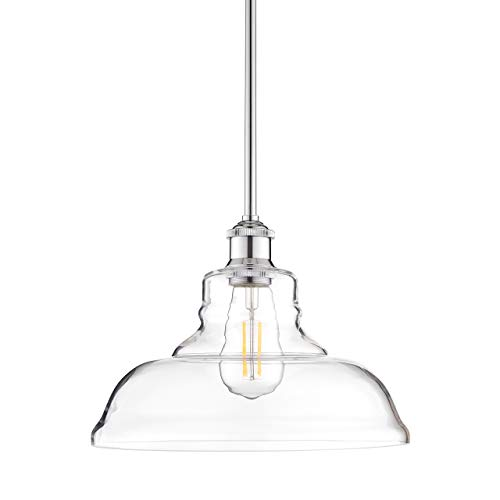 Lucera Glass Kitchen Pendant Light | Chrome Farmhouse Hanging Light Fixture LL-P431-PC
