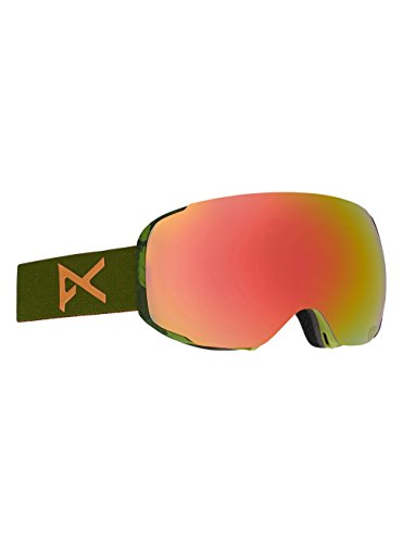 Anon M2 Asian Fit Snowboard Goggle with Spare Lens, Mad Trees Green/Red Solex - M2 Anon Goggles