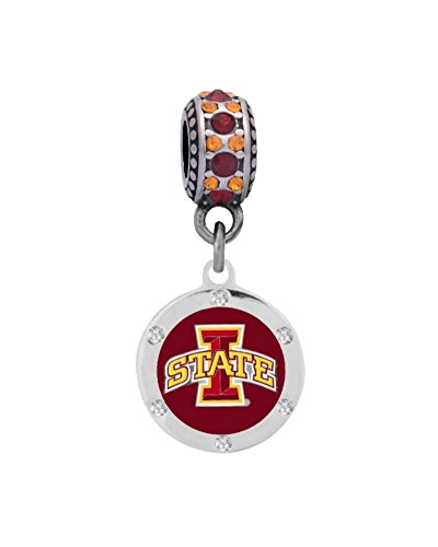 Final Touch Gifts Iowa State University Crystal Charm Fits European Style Large Hole Bead Bracelets