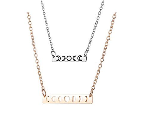 ens Girls 18K Rose Gold Plated Moon Phase Bar Pendant Triple Goddess Necklace Hollow Out Filigree Jewelry for Girlfriend Wife Daughter BFF Gift ()