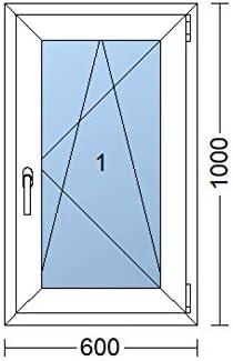 rechts | wei/ß 600x1000 mm 60x100 cm Kunststofffenster Dreh-Kipp-Fenster