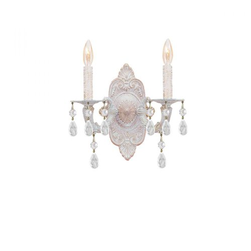 Crystorama Lighting 5200-AW-CLEAR Wall Sconce with Murano Crystals Antique White