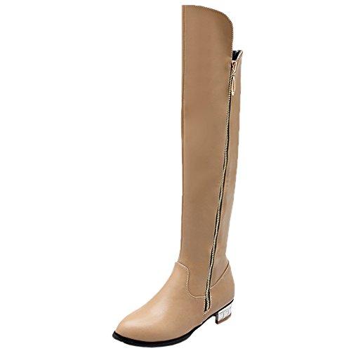 HooH Mujer Botas altas de rodilla Invierno Simple Tacón de plata Rodilla alta Cremallera Equitación Botas Beige