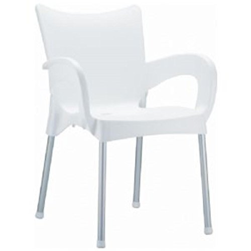 (Compamia Romeo Stacking Dining Arm Chair [Set of 4] Finish: White)