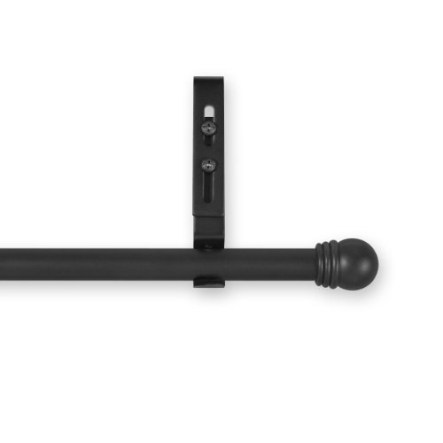 Source Global Unique 28 Inch To 50 Inch Adjustable Curtain Rod Sets  Ball Style  Black