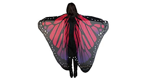 Country Silk Purple and Red Monarch Butterfly Wings Halloween Costume Accessory for Women, One Size ()