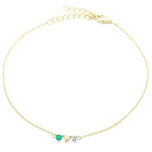 James 14k Bracelet - Alyssa & James Ankle Bracelet Delicate 14K Gold Plated Fiery White Created Opal CZ Anklets for Women