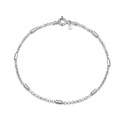 Amberta 925 Sterling Silver 1.4 mm Belcher Rolo Chain Bracelet with Tubes Length 7