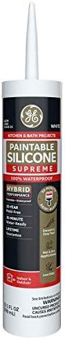 GE Sealants & Adhesives M90025-30 Paintable Silicone Supreme Kitchen & Bath Sealant, 10.1oz, White, 12 g