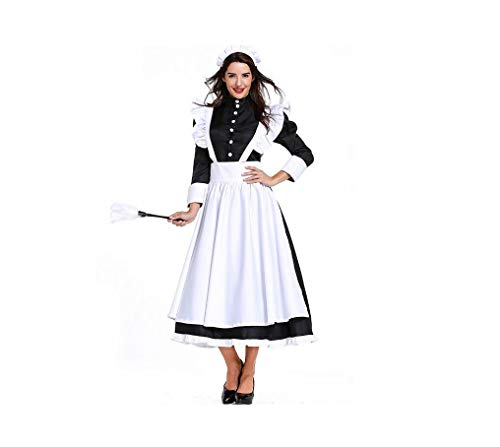 FHJQ Women's Cosplay Lolita Maid Cosplay Fancy Dress French Maid Cosplay Costume Victorian Vintage Classic Dress (XL, Black) ()