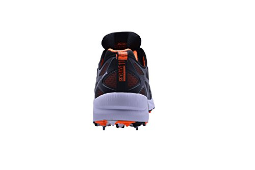 Jazba Mens Skydrive 117 Cricket Schoenen Metalen Spikes Oranje Zwart